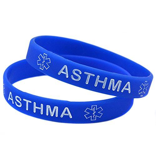 1 x asma médica conocimiento alerta Wristband de la pulsera de silicona (azul)