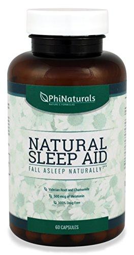Ayuda para dormir naturales | Con melatonina, GABA, raíz de valeriana, pasiflora, manzanilla y raíz de escutelaria | Alternativa de pastillas para dormir por los productos naturales de Phi