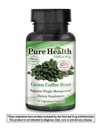 Pura salud puro verde grano de café, 800 mg por porción (400 mg por cápsula), 30 cápsulas vegetarianas