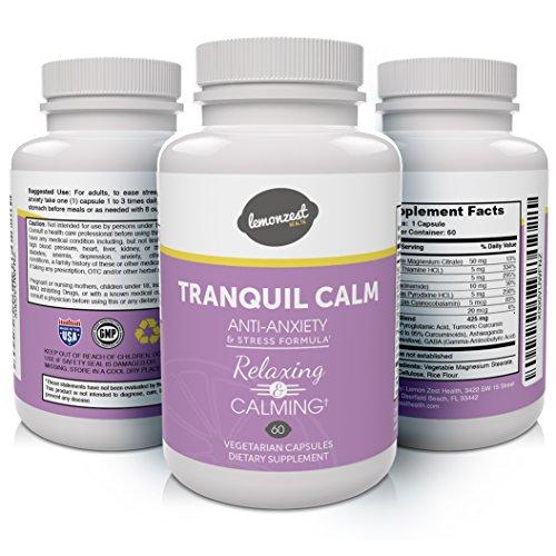 TRANQUILO tranquilo Premium ansiedad y alivio de tensión suplen poderoso Natural fórmula máxima calidad 100% Natural 60 cápsulas vegetarianas Madie en Estados Unidos