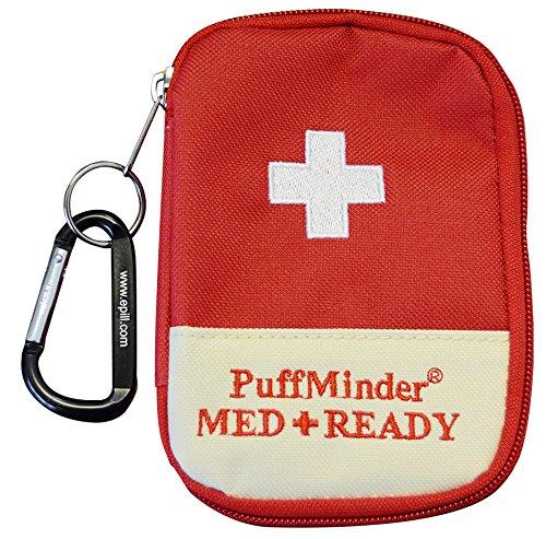 KIT - PuffMinder MEDREADY inhalador de asma ataque estuche con llavero y mosquetón. Bolsa de globo para adultos y niños. Fáciles de encontrar en un ocupado cartera o mochila. Mantenga el inhalador cerca de usted cuando usted lo necesita más.