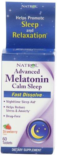 Natrol melatonina de avanzada además de ayuda para dormir, fresa, rápida disolver tabletas, cuenta 60