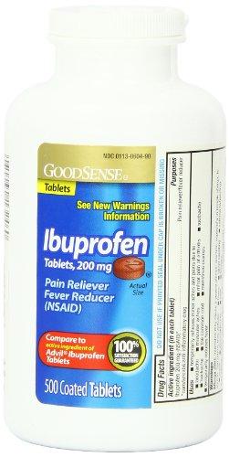 GoodSense ibuprofeno dolor alivio sintomático y la fiebre reductor tabletas, 200 mg, 500 Conde