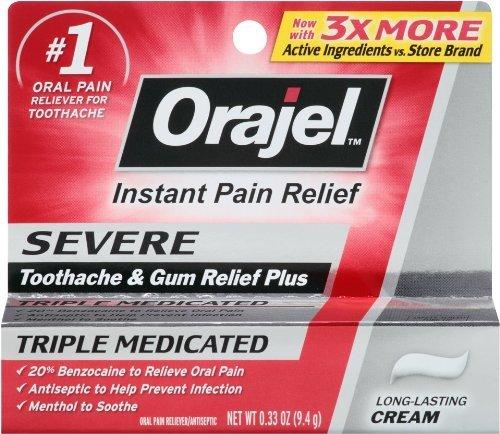 Orajel severo dolor de muelas dolor alivio Gel - 0,33 Oz, Pack de 6