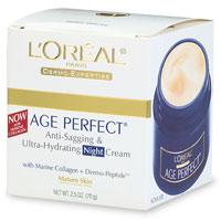 Loreal Age Perfect Flacidez anti y Ultra Hidratante Crema de noche para pieles maduras - 2.5 Oz, 6 Pack