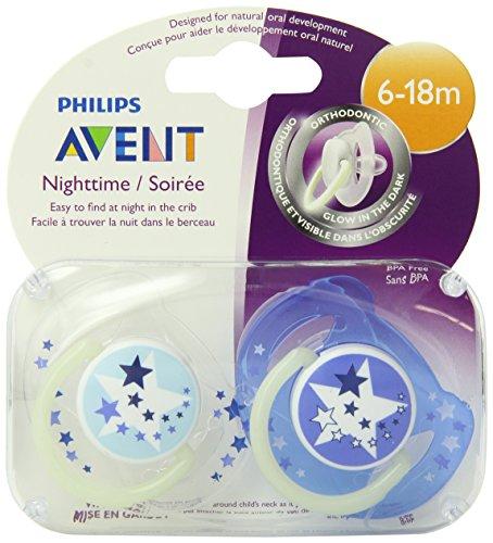 Philips AVENT BPA Free noche tiempo chupete, 6-18 meses, cuenta 2 Pack