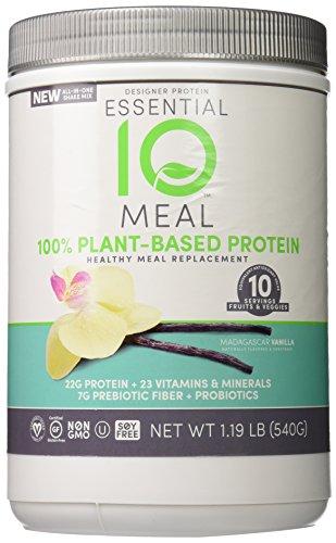 Diseño proteína esencial 10 comidas basadas en vegetales suplemento, vainilla de Madagascar, 1,19 libras