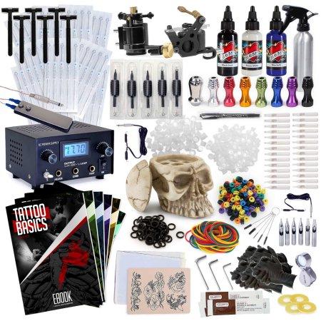 Rehab Ink Kit profesional del tatuaje w / 3 colores de tinta, soporte de tinta cráneo, 2 armas, fuente de alimentación y Más