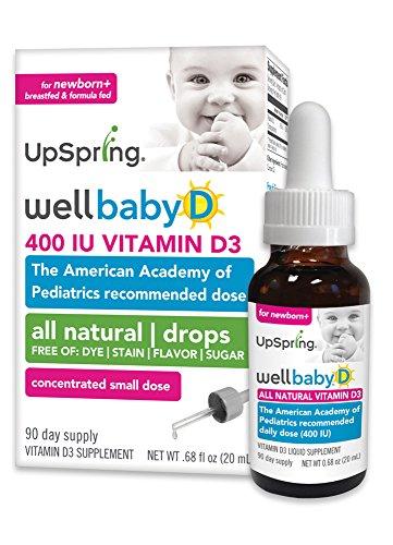 UpSpring: Wellbaby D, gotas de vitamina D para el bebé, 20ml, 400 IU con el cuentagotas de fácil de usar
