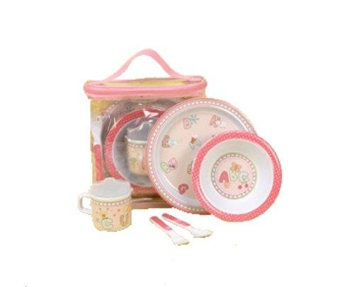 CR Gibson bebé y niño placa, tazón de fuente, taza, tenedor y cuchara comedor conjunto, ABC y Me