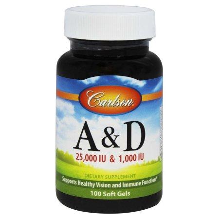Carlson Labs - Vitamina A & D / 25.000 UI y 1.000 UI - 100 Cápsulas Blandas