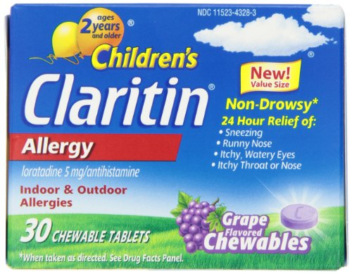 Tabletas masticables Claritin infantil, uva, cuenta 30