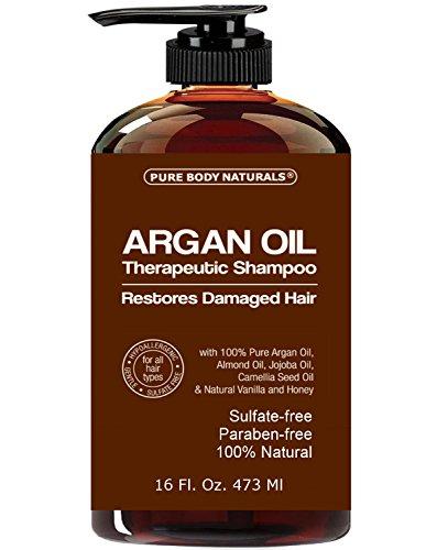 Champú de aceite de argán restaura cabellos dañados - aceite de Argan para cabello, aumento de brillo y profundamente nutre - seguro para todo tipo de cabello y Color trataron cabello - 16 oz botella con bomba
