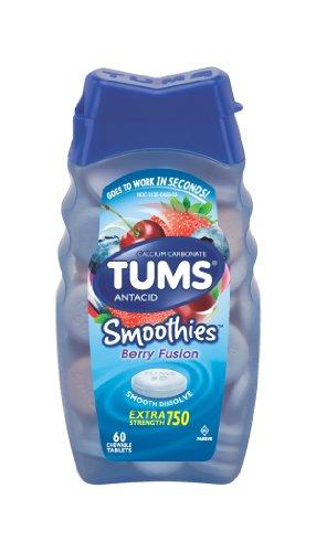 Batidos de Tums antiacido comprimidos masticables, baya fusión - cuenta 60