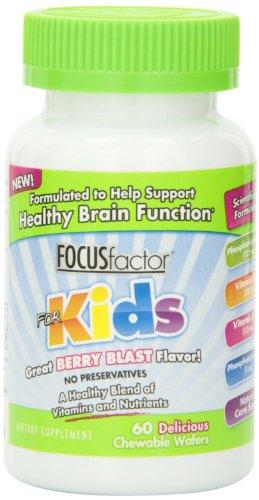 Factor nutrición laboratorios Focus Factor niños, Berry Blast, obleas masticables 60 botella