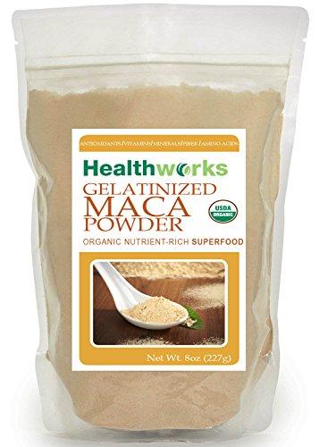 HealthWorks USDA certificado orgánico polvo de Maca gelatinizada 8oz