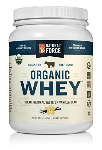 Polvo de proteína de suero de leche orgánica natural Force ® * ordenada #1 mejor cata * hierba alimentado Whey - suero de leche sin desnaturalizar proteína - Whey orgánica cruda, Paleo, Gluten libre de suero Natural, vainilla, 14,3 oz.