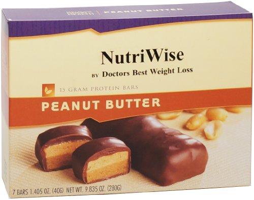 NutriWise - barras de proteína de dieta de mantequilla de cacahuete (7 bares)