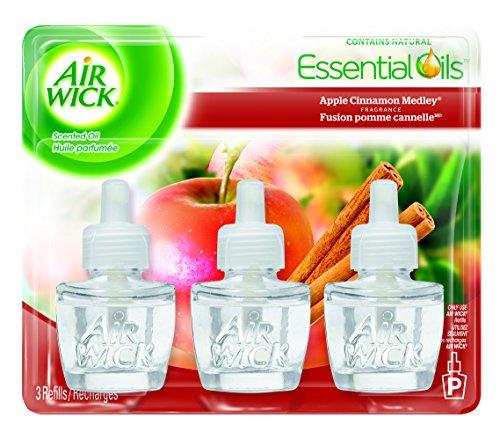 Mecha de aire perfumado aceite Triple recarga relajación, manzana canela Medley, 0,67 onzas contenedores