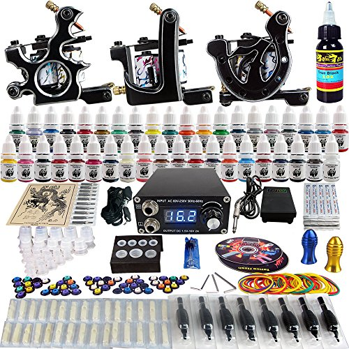 Solong Tattoo® completa tatuaje Kit 3 ametralladoras Pro 40 tintas poder fuente pie Pedal agujas Grips Tips TK356