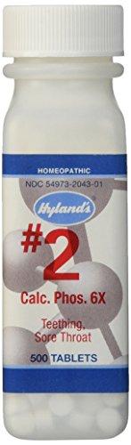 Célula de Hyland's sales #2 Calcarea fosfórica, 6 X comprimidos, alivio Natural homeopático de dentición y de la garganta, cuenta 500