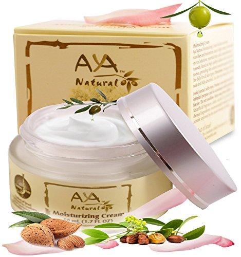 Crema facial hidratante crema de día Natural - Premium vegano cara y cuello cuidado 1.7 oz - mezcla de aceites de karité, Jojoba, oliva, aguacate y almendras