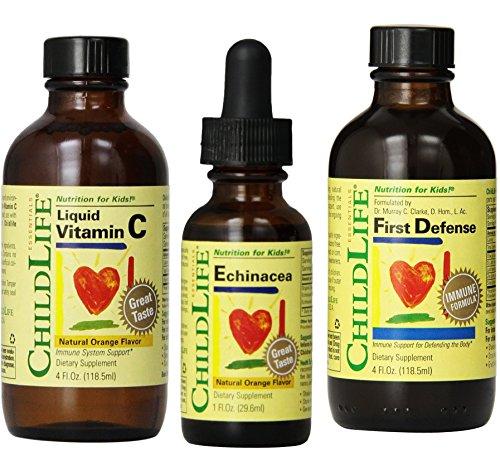 Niño vida líquido vitamina C, equinácea y primera defensa (inmunidad Booster Set)