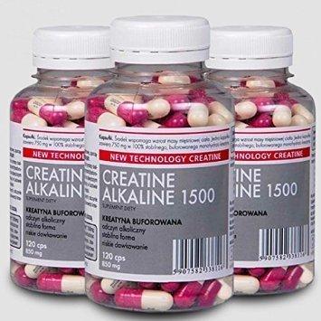 Creatina alcalina Kre-Alkalyn 1500 (3 x 120caps) - No carga, estable, pH tamponado con monohidrato de creatina de Megabol