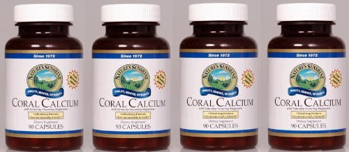 Apoyo de naturessunshine Coral calcio huesos salud 90 cápsulas (paquete de 4)