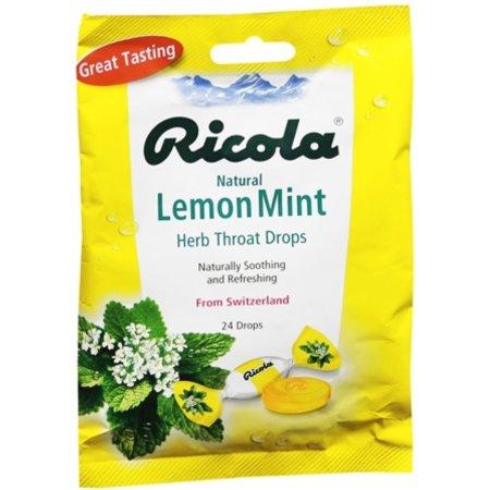Ricola Hierba de gotas para la garganta Limón natural Mint 24 Cada (paquete de 6)