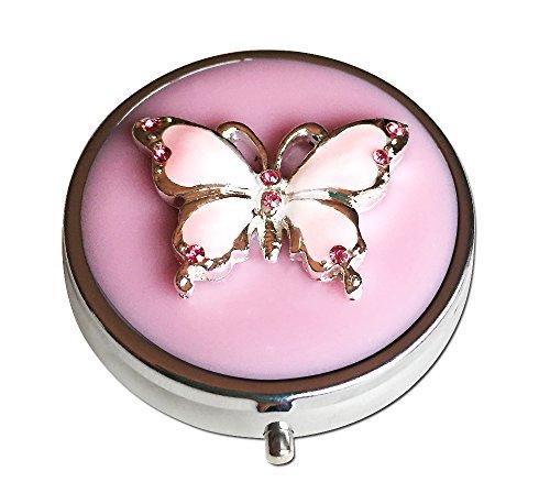 Caja mariposa rosa plata compartimiento tres píldora de bolsillo/bolso/viaje