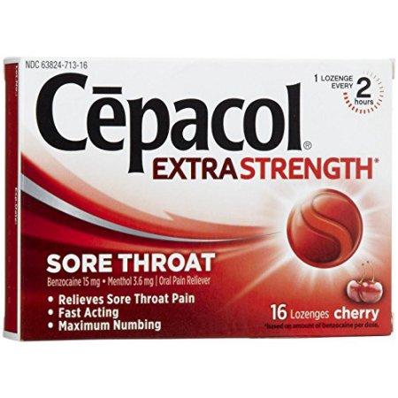 3 Pack Cepacol Extra Fuerte dolor de garganta cereza 16 pastillas Cada