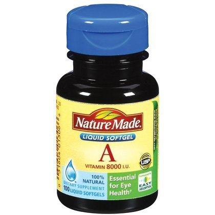 La vitamina A, 8.000 UI, 100 cápsulas blandas, líquidas barco desde EE.UU., marca Nature Made