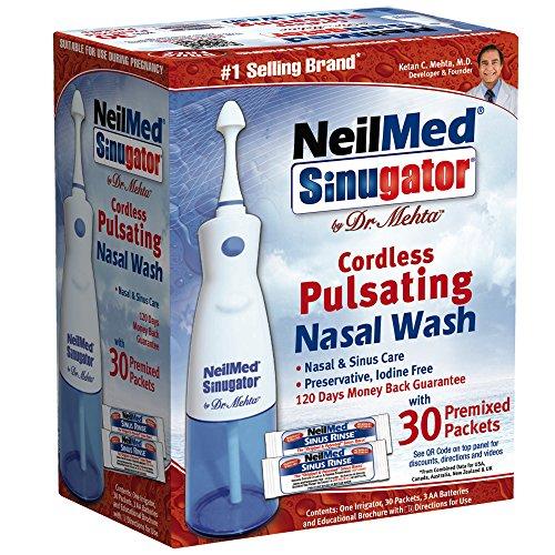 NeilMed Sinugator inalámbrico lavado pulsátil con 30 premezclado paquetes