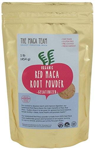 Gelatinizada en polvo de raíz de Maca roja - certificada orgánica, comercio justo, cosecha OGM, fresca del Perú, vegana libre de Gluten y precocido 1 Lb - 50 porciones