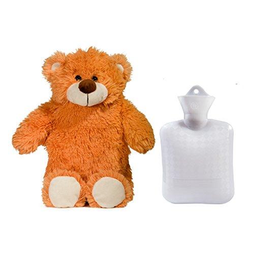 Oso de peluche de felpa de lujo de Peterpan 0.8 litros agua caliente y cubierta de la botella, hecho con calidad antialergicas tela que permite para rápida transferencia de calor para calmar los dolores y los dolores, marrón