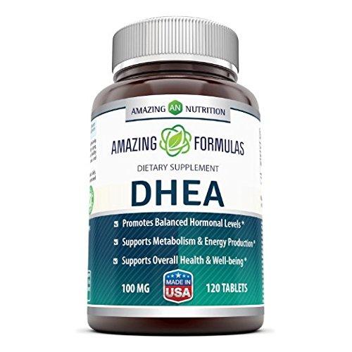 Suplemento de DHEA fórmulas sorprendente - 100mg 120 tabletas hormona dehidroepiandrosterona pastillas para hombres y mujeres - más fácil de usar que los productos en polvo y crema