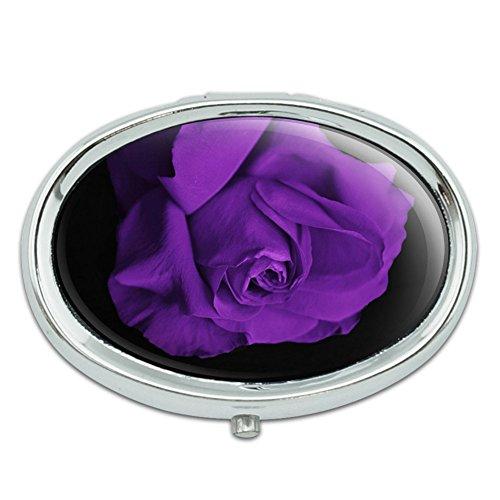 Rosa flor pétalos Púrpura Metal Oval caso pastillero