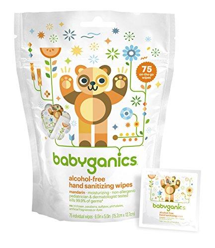 Babyganics sin Alcohol, desinfectante toallitas, mandarín, 75 paquetes individuales, de la mano (Pack de 2, 150 Total toallitas)