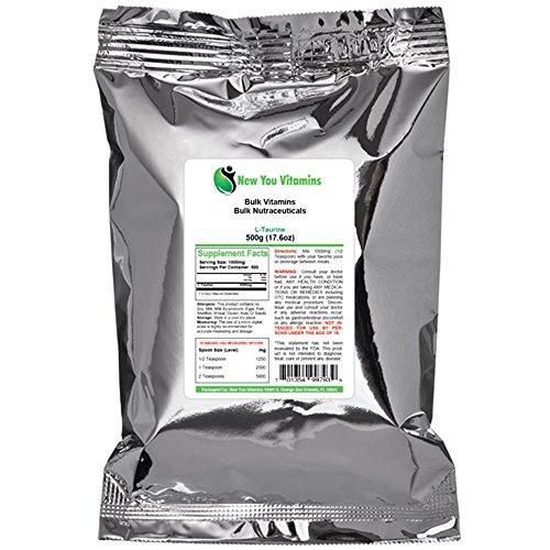L-taurina en polvo de nuevo usted a granel vitaminas 100% puro polvo de L-taurina a granel 1000 g (1000 gramos) 35,2 oz (35,2 onzas)