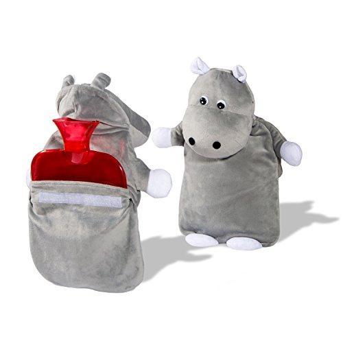 Hipopótamo de peluche Adorable Peterpan 2 litros agua caliente y cubierta de la botella, hecha con calidad antialergicas tela que permite para rápida transferencia de calor para calmar los dolores y los dolores, gris