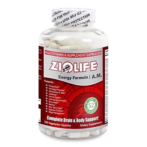 Ziolife A.M. (fórmula de energía) más de 50 suplementos naturales por porción: 180 cápsulas