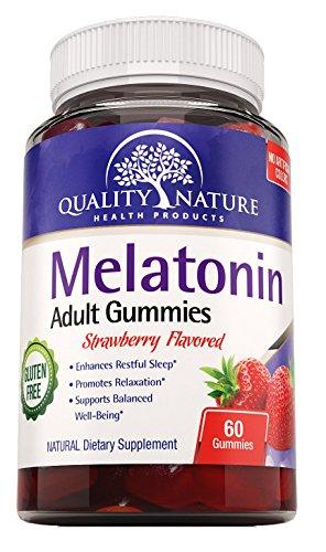 -Natural de Gummies adultos dormir píldoras con más fuerza - melatonina 5 Mg gomosa por porción - mejora la calidad del sueño - melatonina mejora bienestar fresa saborizada - libre de Gluten - todo Natural - Pareve y Halal certificado