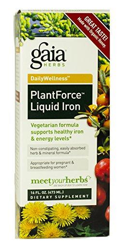 Suplemento del hierro líquido Plantforce Gaia hierbas, 16 onzas