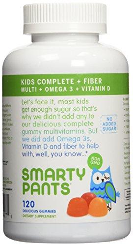 SmartyPants niños fibra completa sin azúcar añadido, Multi plus Omega 3 y vitamina D, la cuenta 240