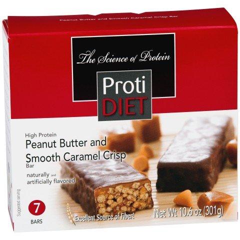 Mantequilla de maní de Protidiet y barras de proteína alta suave caramelo crujiente (caja 7) peso neto 10,6 oz