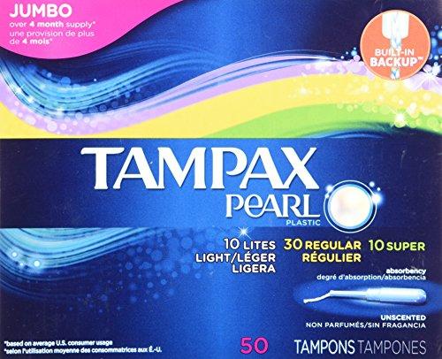 Perlas de plástico Triple Pack, absorbencia de luz/Regular/Super, sin tampones, cuenta 50