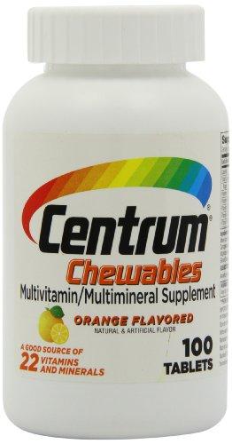 Centrum multivitaminas masticables, sabor a naranja, 100 comprimidos