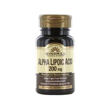 Windmill Naturales Vitaminas Ácido alfa lipoico cápsulas de 200 mg - 30 Ea