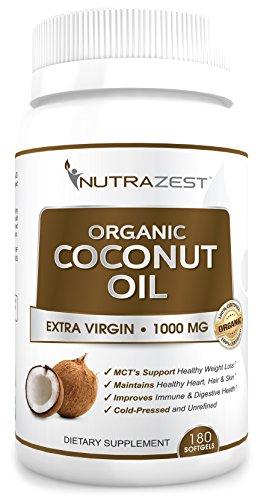 Cápsulas de aceite de coco orgánico Virgen Extra Nutrazest - 1000mg con MCTs para promover la sana pérdida de peso, mejora la digestión, inmunidad Natural y cabello, piel, uñas salud - prensado en frío 100% 180 cápsulas